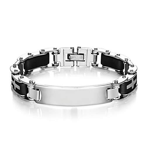 QFJCNZ Armband Trendy Kreuz Silikon Armreifen Edelstahl Armbänder Für Männer Mode Motorrad Armband Coole Schmuck Zubehör