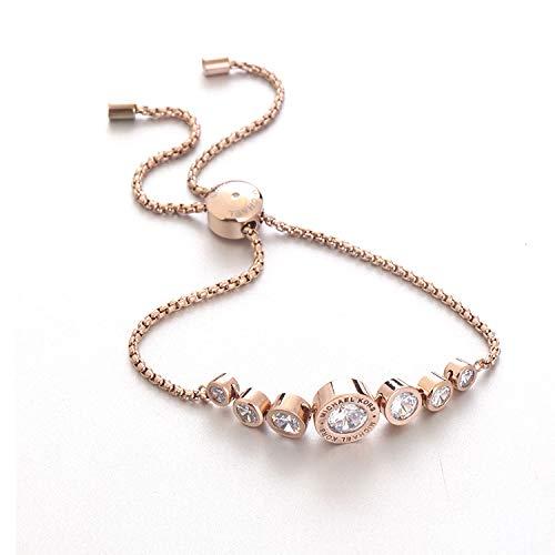JZHJJ eenvoudige en stijlvolle klassieke paar armband slanke minimalistische rose goud ronde edelsteen set ingelegd met lange en korte armband inclusief: armband, armbanden vrouwen, armband string, armband mannen