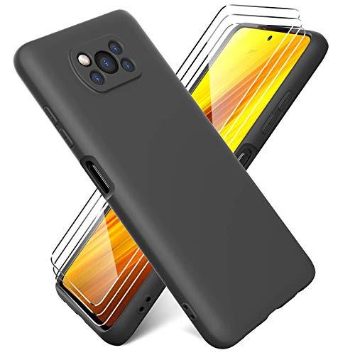 Ikziwreo - Funda Compatible con Xiaomi Poco X3 NFC + Protectores de Pantalla Templados [3 Paquetes], Carcasa de Silicona Líquida Gel Ultra Suave Funda con tapete de Microfibra Anti-Rasguño - Negro