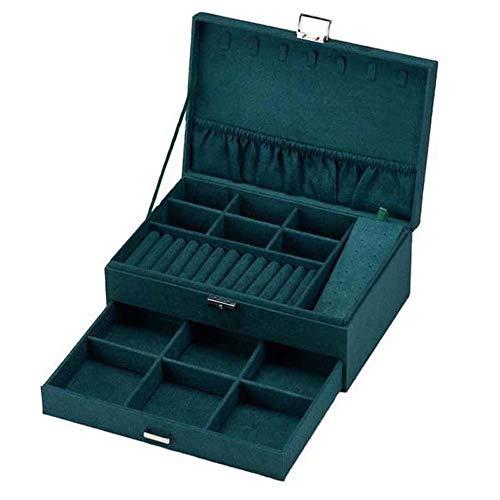 NFRADFM Caja de joyería, caja de almacenamiento de joyería de franela de doble capa, sostenedor de joyería grande, caja de regalo europea, caja de joyería portátil