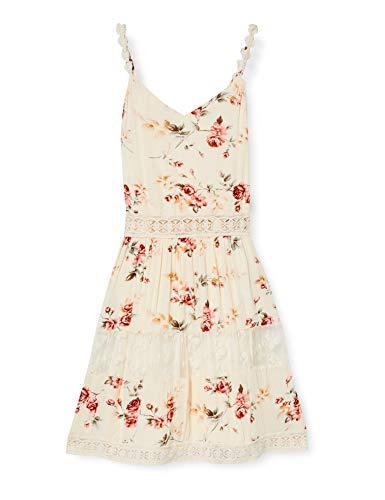 ONLY Damen ONLKARMEN Anne S/L Short Dress WVN NOOS Kleid, AOP:Rose Flower Creme Brûlée, 38