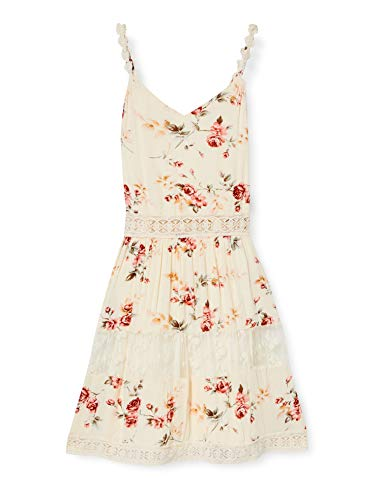 ONLY Damen ONLKARMEN Anne S/L Short Dress WVN NOOS Kleid, AOP:Rose Flower Creme Brûlée, 38