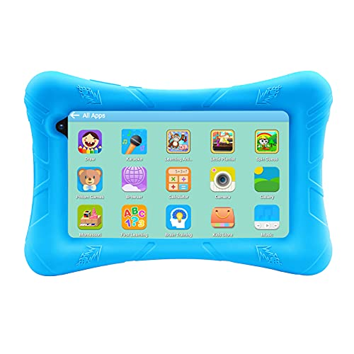 Pritom - Tableta para niños de 7 Pulgadas, Android 10 32GB ROM, WiFi, Bluetooth, Educación, Control Parental, Software para niños preinstalado, Tableta para niños (Azul)