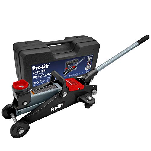 Pro-LifT F-2315PE Grey Hydraulic Trolley Jack Car Lift with Blow Molded Case-3000 LBS Capacity