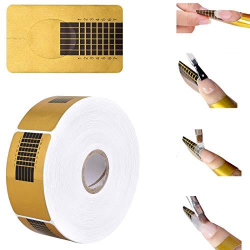 Nagel Schablonen,1 Rolle /500 Stück Selbstklebende Quare Modellier Schablonen Goldschablonen für Gel Nägel & Nagel Verlängerung, Für die Künstliche Fingernagel Modellage