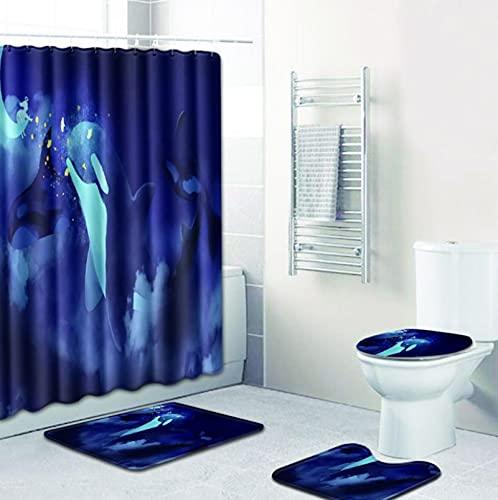 GjbCDWGLA Juego De Cortinas De Ducha De Delfín Azul, Juego De Alfombras De Baño Impermeables Antideslizantes De 4 Piezas, Alfombra De Pedestal + Tapa, Cubierta De Inodoro + Baño