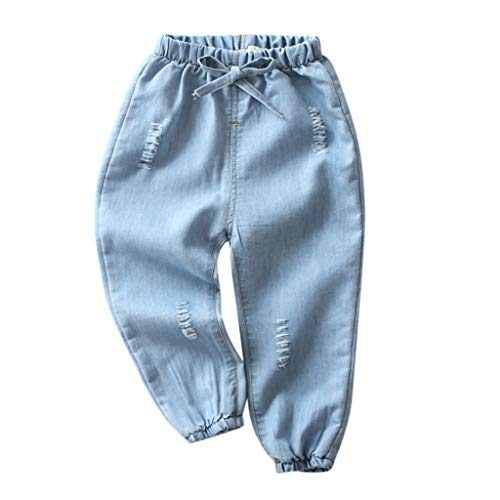 Moonker Children Baby Boy Girl Jeans Pants Cartoon Hole Denim Long Pants Elastic Waist Bottoms Trousers Clothes 1-5T (4-5 Years Old, F)