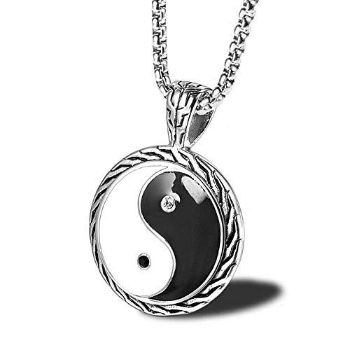 Persoonlijke accessoires, Kettingen, Trendy Yin Yang Hanger Mode RVS Goud Zilver Yin Yang Ketting Vriendschap voor Spirituele Sieraden, Thumby ZILVER