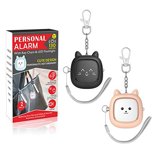 Safe Sound Personal Alarm2 Pack 130 dB Loud Siren Song Emergency Safety Alarm Keychain with LED Light Self Defense Siren  Safety Alarm for Women Men ChildrenElderly Black/Soft Pink
