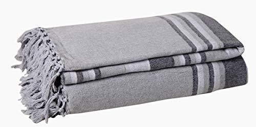 EHC, 250 x 250 cm, gestreift, aus Baumwolle, groß, 3 oder 4-Sitzer, Sofa-Überwurf für King-Size-Bett schwarz
