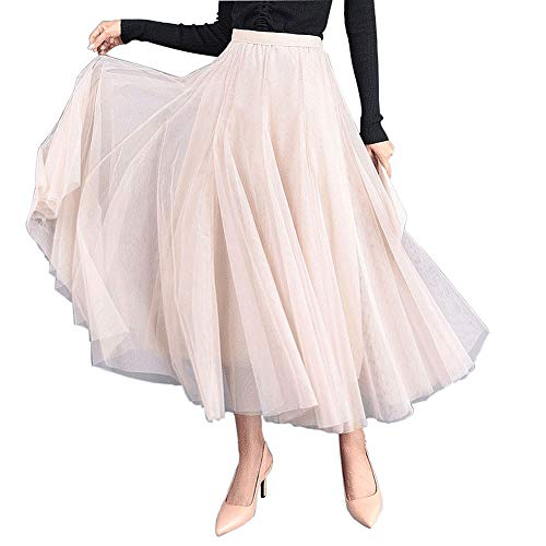 Carolilly Gonna in Tulle Tutu Gonne Vintage da Donna Tutu Balletto sotto Stile Anni '50 Gonna Tulle Donna Lunga Rosa Nero
