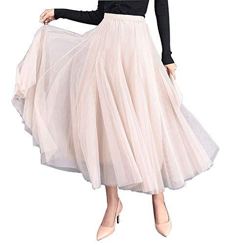 Carolilly Dames tule rok lang elegante Maxirokken Tutu tule rok voor bruiloft, eenheidsmaat