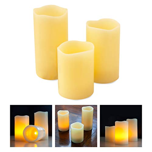 Mooncandles Timer - 3 Real Wax Flameless LED Candles with Timer