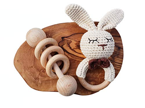 Mali Wear Natural Baby Rattle Crochet Cotton Bunny Teether and Classic Wooden Ring Toy Rattle Gender Neutral Montessori (Neutral Bunny & Classic Rattle)