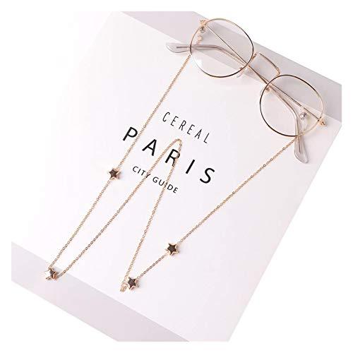 DZJUKD Práctico Cadenas de Gafas Colgantes para Mujer Hollow Star Gafas de Sol Lecturas Gafas de Lectura Cadena de Gafas Soporte de cordón Correa de Cuello Nueva Cuerda de Moda para Mujeres Mayores