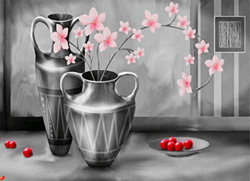 SiJOO Handgemalte kreative Digitale Malerei der silbernen Flaschenkunst 24 Farbpinsel, der DIY Malt, malen durch Zahl