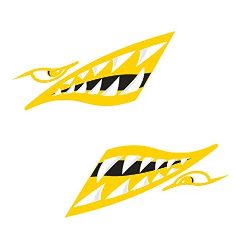 MagiDeal 2pcs Autocollants Dents De Requin Décor Fantaisie Pièce Auto-adhésif pour Kayak Bateau Canoë - Jaune