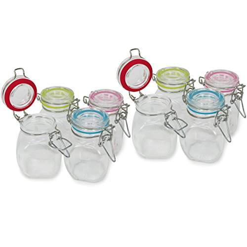 com-four® 8x mason jar con cierre de clip, vaso de alambre con...
