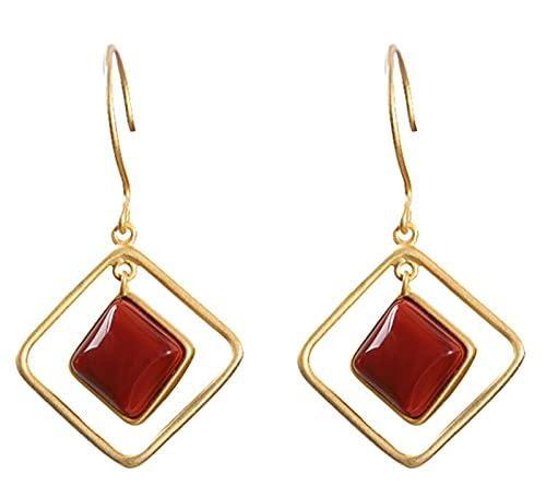 CHXISHOP Pendientes de ágata roja 925 Joyas de Plata de Ley 925 Pendientes de ágata roja Largos, adecuados para Mujeres y niñas joyería Style 2
