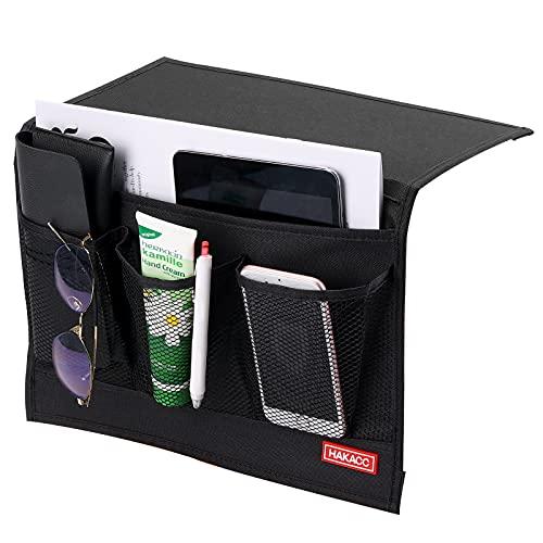 HAKACC Bedside Caddy/Bedside Storage Organizer,Remote Control Holder Armchair Organizer Couch Caddy Sofa Armrest Bag for Tablet Magazine Phone Remotes, Black