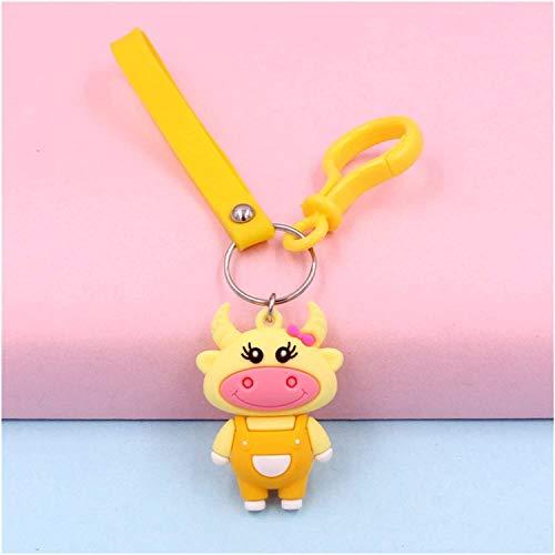 ZZXINZHU Keychain pendant Animal Toys, Key Chain Silicone Dolls Kid's Toys 3D Men Women Cartoon Bag (Color : Yellow)