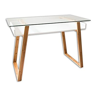 bonVIVO Writing Desk MASSIMO, Contemporary Desk Combining Glass And Wood, Modern Desk With Bamboo Legs And White Glazed Shelf, Usable As Computer Desk, Office Desk, Secretary Desk Or Vanity Desk