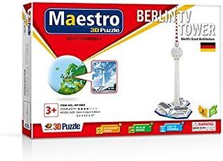 Maestro 120104 Torre TV BERLÍN-40 PCS-TAMAÑO MONTADO: 24CM X 24CM X 69CM 3D Puzzles, Multicoloured