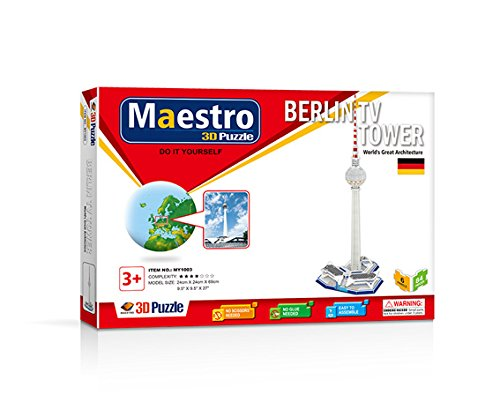 Maestro Torre TV BERLÍN-40 PCS-TAMAÑO MONTADO: 24CM X 24CM X 69CM Puzzles 3D, Multicolor (120104)