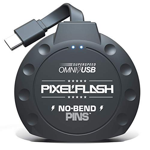 PixelFlash No-Bend Pins USB Type-C Compact Flash Card Reader 1' Cabled Tactical SuperSpeed CF Adapter [American Brand] - Black