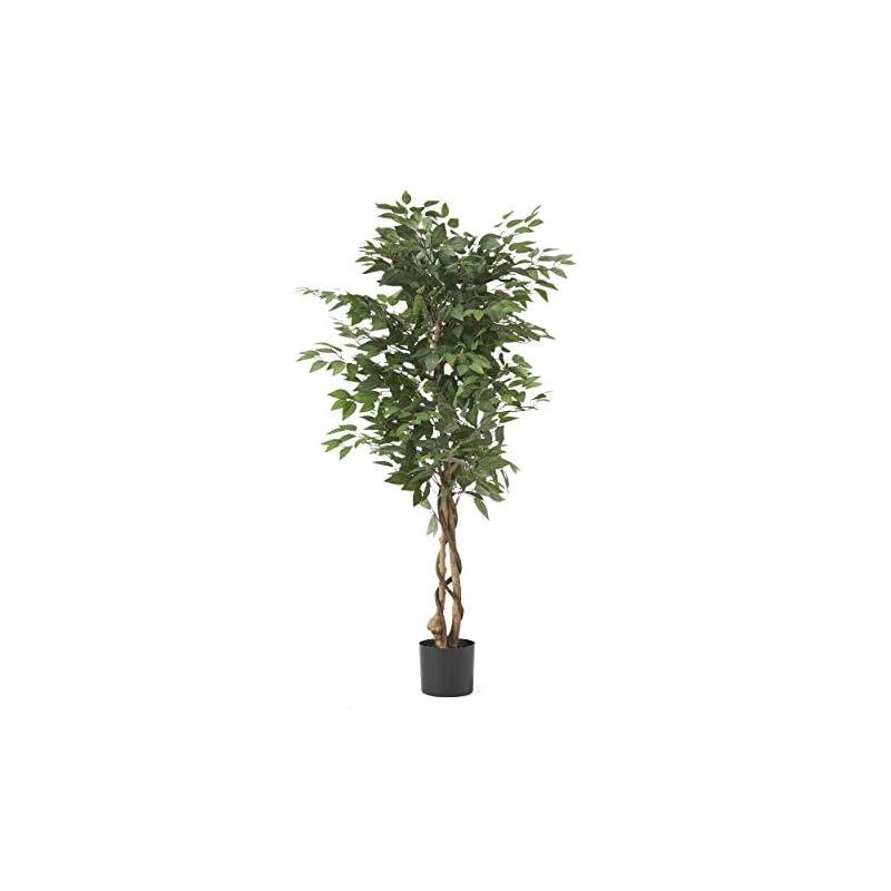 silk flower arrangements christopher knight home harney artificial ficus tree, 5' x 2.5', green, black