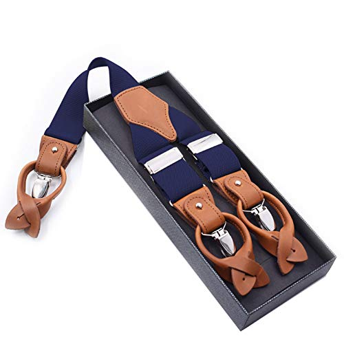 DYDONGWL Suspenders/Man's Suspenders Mode Braces Echt Leer Suspenders Broek Band Vader/Man Gift 3.5 X 120cm