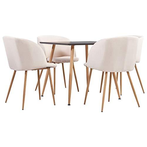 vidaXL Juego de Comedor 5 Piezas Set Conjunto de Muebles Asientos Sillas Sofás Mesa Decoración de Cocina Salón Sala Casa Hogar Interior Tela Crema