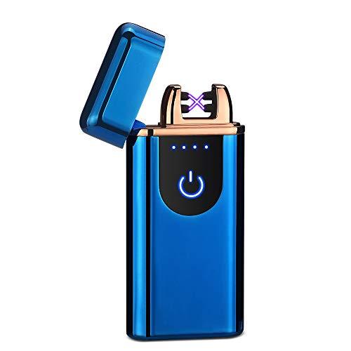 Lingan USB-Feuerzeug, elektrisch, wiederaufladbar, doppelter Lichtbogen-Strahl, winddicht, flammenlos, Plasma-Feuerzeug für Männer und Frauen, Damen, blau