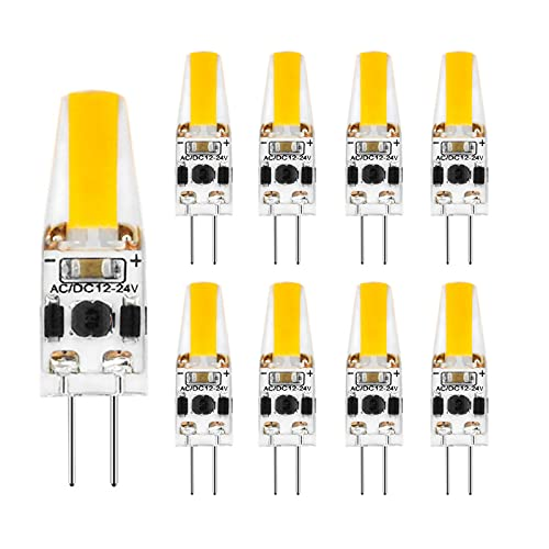 RHAD G4 LED COB AC / DC12-24V 2 PIN Klare Kapsel Lampe Lampe 2700-6000k Halogen-Pin-Base-Lampe für Home Beleuchtung, 8-Pack,Cool White
