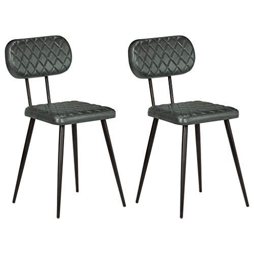 Festnight Esszimmerstühle 2 STK. | Lederstuhl 2er Set | Vintage Essstuhl | Retro Küchenstuhl | Esszimmer Stuhl | Grau Echtleder mit Stahlrahmen 42 x 47 x 76 cm