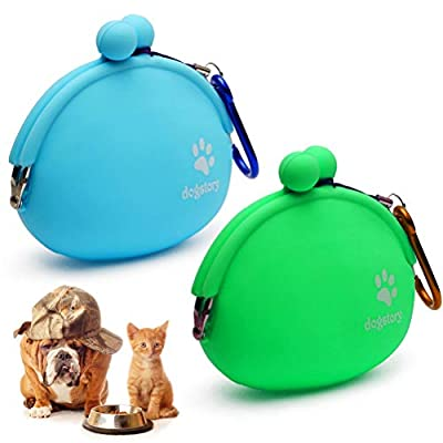 nuoshen 2 Pcs Dog Cat Treat Pouch, Silicone Cat Dog Training Bag Portable Dog Treat Bags, Blue and Green