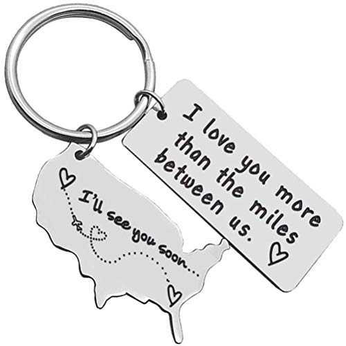 CLFYOU Keychain Relationship Key Ring I Love You More Than The Miles Between Us Keychain Meaningful Map I'Ll See You Soon Key Charm Key Holder Pendant Ornaments For Bag