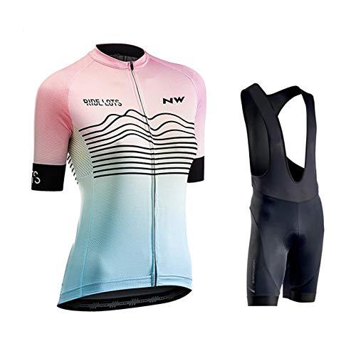 OJKYK Ropa Conjunto Traje Equipacion Ciclismo Mujer Verano con 9d Acolchado De Gel, Maillot Ciclismo + Pantalon/Culote Bicicleta para MTB Ciclista Bici