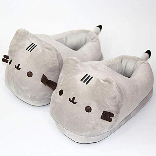 B/H Winter HausschuheHarte Warm Bequem Weich,Home Thick Cotton Slippers, Cartoon Plush Slippers, Animal Cotton Shoes-Pusheen The cat_35-42,Hausschuhe Damen Warm Winter Slipper