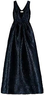 MOMONI Lurex - Vestido largo de organza negro