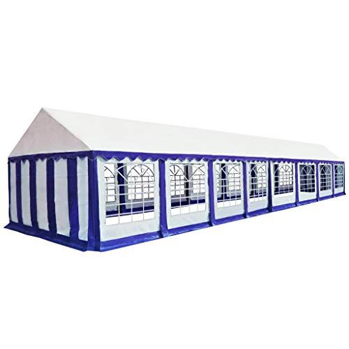vidaXL Carpa de Jardín Toldo Patio Piscina Almacenamiento Tienda Cobertizo Herramienta Pabellón Fiesta Comercial Impermeable de PVC Azul y Blanco