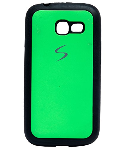 iCandy Black Boarder Leather Finish Soft Back Cover for Samsung Galaxy Star Pro S7260 / S7262 - Green