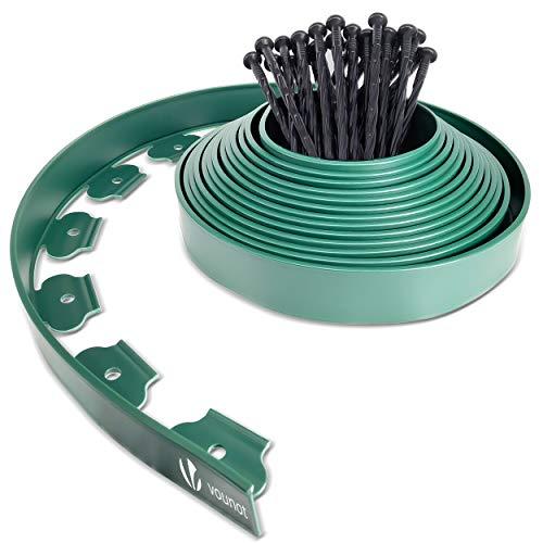 VOUNOT Borde Jardín, Césped Borde, Flexible de Plástico, Longitud 10 m, Altura 5 cm, con 30 Clavijas, Verde