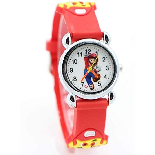 buyaoku Juguete de Peluche Super Mario Reloj de Dibujos Animados en 3D Reloj de Cuarzo para niña niño Estudiante Reloj Super Mario