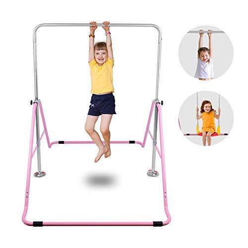 Verstellbare Klapp-Heim-FitnessgeräTe Schaukel-Trockengestell HöHe Kinder Unterhaltung Indoor Kinder Horizontal Bar Dip Tisch,Rosa