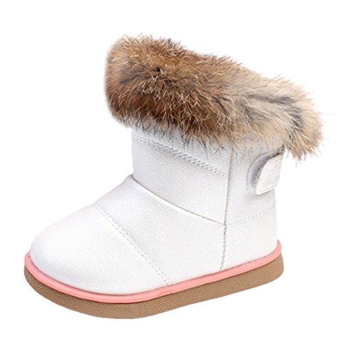 LvRao Schneestiefel PU Lederschuhe Winter Baby Jungen Mädchen Kind Martin Stiefel Warme Schuhe (Weiß, CN 25)