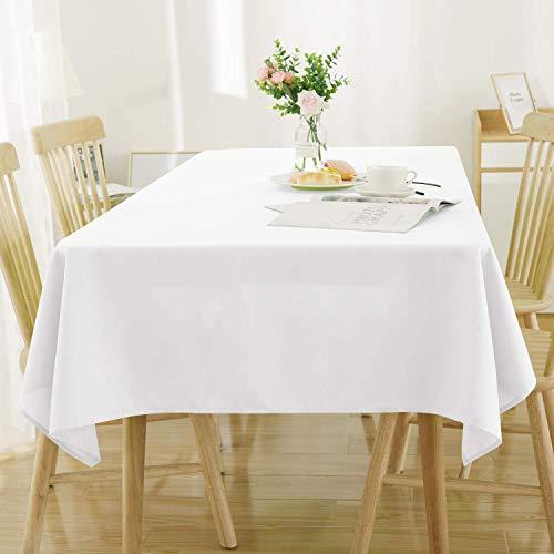 Deconovo Manteles de Mesa Rectangular Efecto Lino para Cocina 130 x 220 cm Blanco