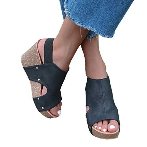 GMRZ Sandalias para mujer, Verano Peep-Toe Sandalias Plateau con tacón Sandalias Plateau Cuña Cuñas Zapatos de Playa Moda Simple Zapatos Antideslizantes, Negro, 39