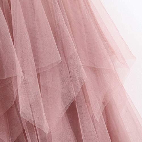 VEMOW Faldas Mujer cómoda de Tul de Cintura Alta Falda Plisada del tutú de Las señoras Falda de Midi(Rosado,Una Talla)