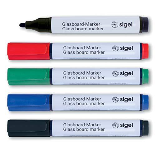SIGEL GL711 Glasboardmarker / Whiteboard-Stifte Rundspitze 2 - 3 mm, 5er Set abwischbar, kräftige Farbe, Recyclingmaterial, Made in Germany